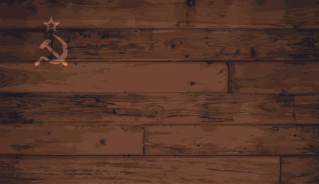 floorboards: Russia flag outline brand on wooden board