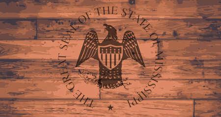 onto: Mississippi State seal branded onto wooden planks Illustration