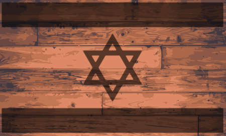 The Israel flag brand onto a wooden board