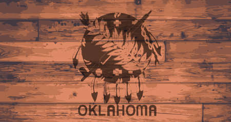 floorboards: Oklahoma State Flag branded onto wooden planks
