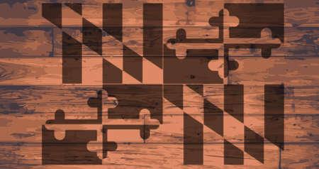 floorboards: Maryland State Flag branded onto wooden planks Illustration