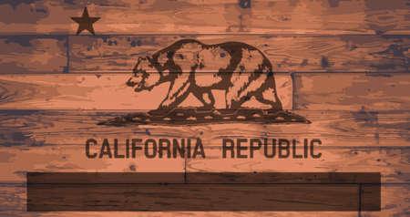 woodgrain: California State Flag branded onto wooden planks