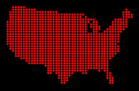 A map of the United States of America in red dots over a black background