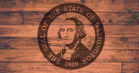 woodgrain: Washington State Flag and seal branded onto wooden planks