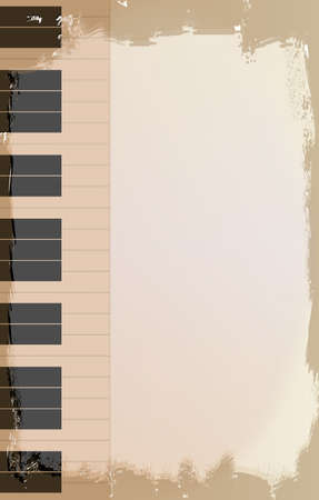 ragged: A piano grunge style background with faded and ragged areas