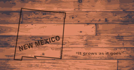 floorboards: New Mexico state map brand on wooden boards with map outline and state motto