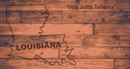woodgrain: Louisiana state map brand on wooden boards with map outline and state motto