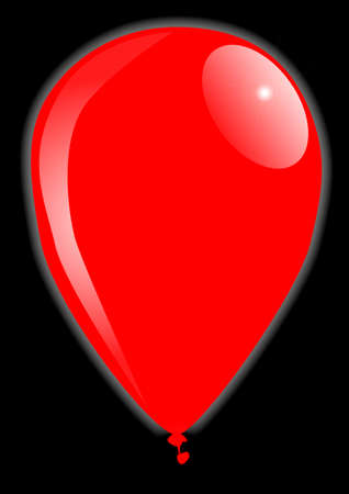 A large red balloon over a black background
