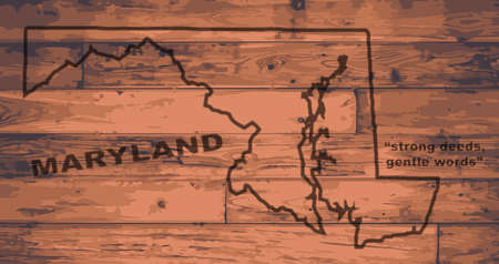 motto: Maryland state map brand on wooden boards with map outline and state motto
