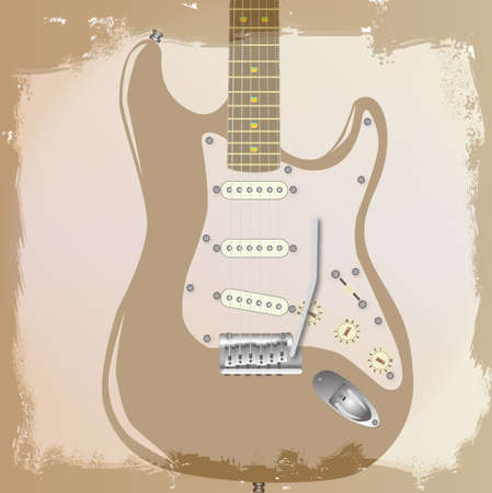 stringed: An electric guitar grunge style background with faded and ragged areas