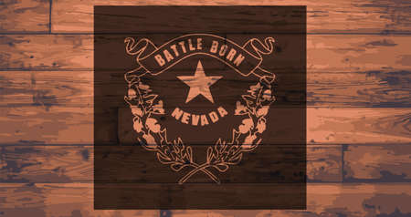 branded: Nevada State Flag branded onto wooden planks