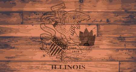 Illinois State Flag branded onto wooden planks