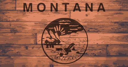 branded: Montana State Flag branded onto wooden planks Illustration