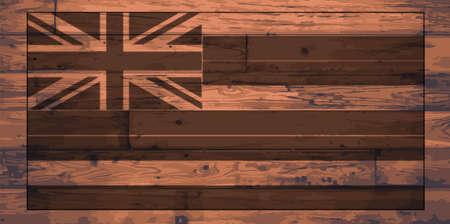 woodgrain: Hawaii State Flag branded onto wooden planks Illustration