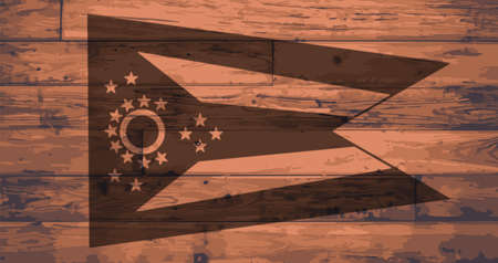 BRANDED: Ohio State Flag branded onto wooden planks
