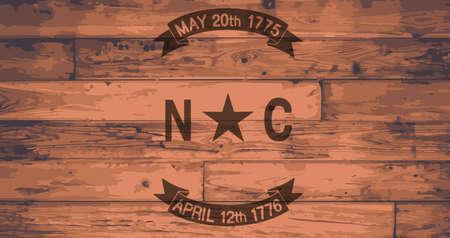 floorboards: North Carolina State Flag branded onto wooden planks