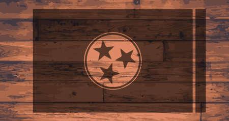 tennesse: Bandera del estado de Tennessee con la marca en los tablones de madera