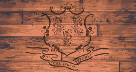 woodgrain: Connecticut State Flag branded onto wooden planks
