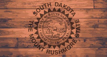floorboards: South Dakota State Flag branded onto wooden planks