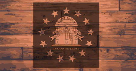 wooden planks: Georgia State Flag branded onto wooden planks Illustration