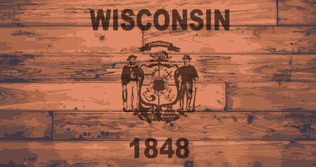 wisconsin flag: Wisconsin State Flag branded onto wooden planks Illustration