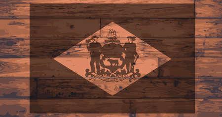 floorboards: Delaware State Flag branded onto wooden planks