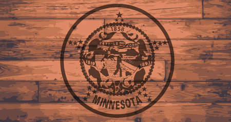 branded: Minnesota State Flag branded onto wooden planks Illustration