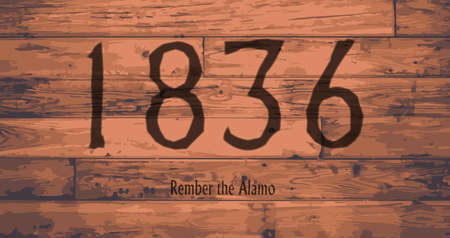 floorboards: Date of the Alamo branded onto wooden planks