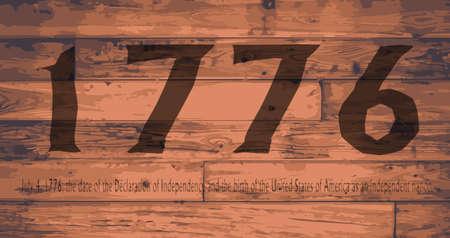 floorboards: Date Independence Day branded onto wooden planks Illustration