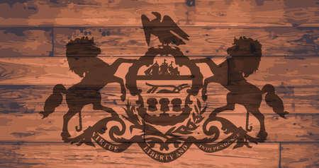 pennsylvania: Pennsylvania State Flag branded onto wooden planks Illustration