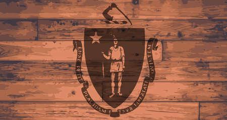 branded: Massachusetts State Flag branded onto wooden planks