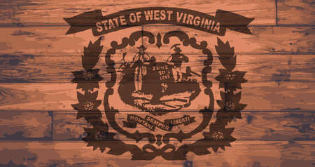West Virginia State Flag branded onto wooden planks