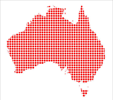 oz: A map of Australia created from a series of red dots over a white background