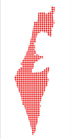 perforation: A red dot map of Israel over a white background