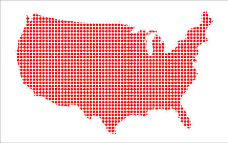 perforation: A red dot silhouette map of the United States of America