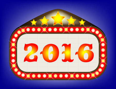 las vegas lights: A movie theatre marquee with the message 2016