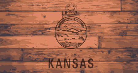 floorboards: Kansas State Flag branded onto wooden planks