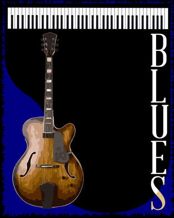 blues: A guitar and piano blues music style background for a poster