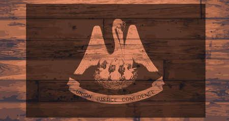 woodgrain: Louisiana State Flag branded onto wooden planks