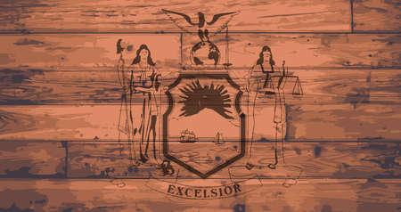 woodgrain: New York State Flag branded onto wooden planks Illustration