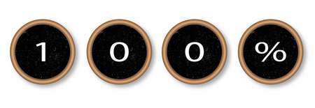 typewriter key: The text 100 percent in typewriter key pads over a white background Illustration