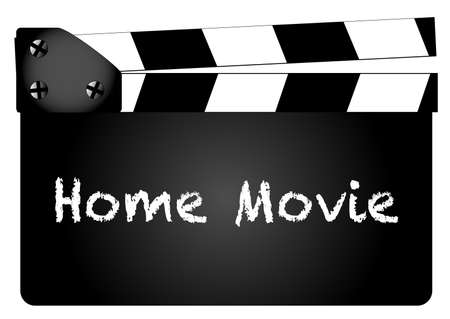 home video camera: A typical movie clapperboard with the text my movie isolated on white.