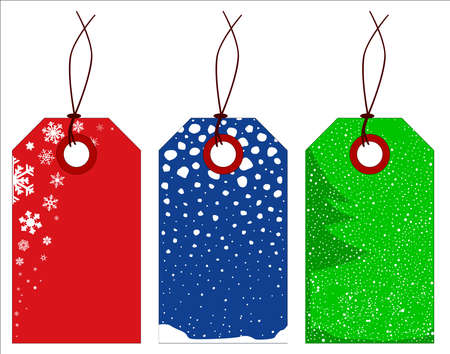 xmas background: A collection of three Christmas tags in different colors with original vector text.