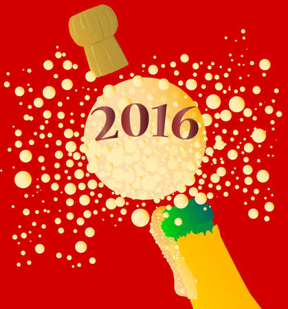 exclaiming: Champagne bottle being opened with froth and bubbles with a large bubble exclaiming 2016 Illustration