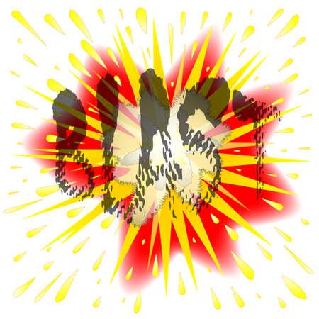 detonation: Abstract cartoon style blast explosion over a white background Illustration