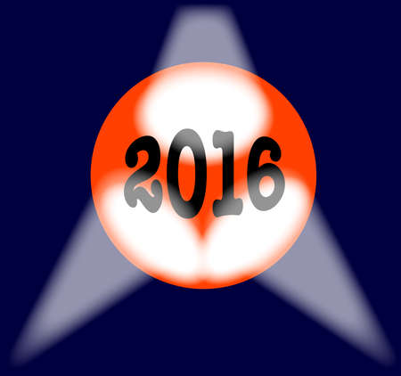 A spotlit globe with the year 2016 in large numbers.