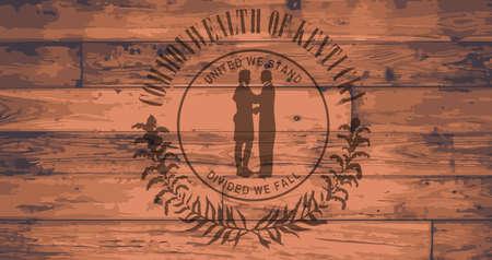 floorboards: Kentucky State Flag branded onto wooden planks Illustration