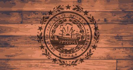 branded: New Hampshire State Flag branded onto wooden planks Illustration