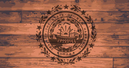 New Hampshire State Flag branded onto wooden planks Illustration
