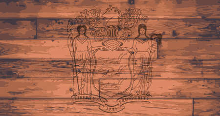 New Jersey State Flag branded onto wooden planks